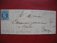 Lettre De La Mairie De St Paul Des Landes Cachet Facteur  Obl. GC 3197 Roquebrou Pour La Correze - Postmark Collection (Covers)
