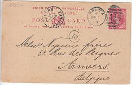 Malta: UPU One Penny Printed Postcard: C. Breed Eynaud To Anvers, 7-11 Sep 1897 - Malta (...-1964)