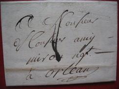 Lettre St Maixent Deux Sevres Marque Postale Frappée A Sec 17187 Avec Texte Pour Orleans - Marcophilie (Lettres)