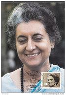 DDR 3056, Auf Maximumkarte, 1986, 69. Geburtstag Von Indira Gandhi