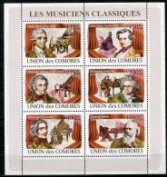 Comores, 2009, Composers, Beethoven, Brahms, Berlioz, Schubert, Haydn, Liszt, Music, MNH Sheet, Michel 1967-1972