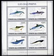 Comores, 2009, Dolphins, Dauphins, Animals, Fauna, Wildlife, MNH Sheet, Michel 2198-2203