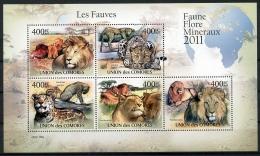 Comores, 2011, Lion, Leopard, Fauves, Fauna, Animals, Wildlife, MNH Sheet, Michel 3043-3047 - Comoros