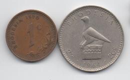 Rhodésie : Lot De 2 Anciennes Pièces 1c 1970 & 20c 1964 (QEII) - Rhodésie