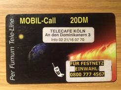 Per Fumum Tele-Line Mobil Call  - 20 DM - Earth Universe-  Fine Used Condition - Deutschland