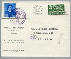 Switzerland, International Education Bureau, IEB, BIE, United Nations, 1941, Service Cover With Pestalozzi Label - Service