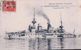 """Marine Française, Cuirassé à Tourelles """"CHARLEMAGNE"""" (15) - Guerra"""