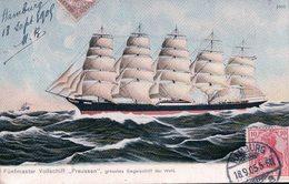 "Voilier, Fünf Vollschiff  ""PREUSSEN"" Grösstes Segelschiff Der Welt + Timbre Taxe Français (18.9.05) - Segelboote"