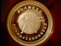 """CHINA TAIWAN 50 DOLLARS (YUAN) NT$ 2001 SILVER PROOF """"34th BASEBALL WORLD CUP"""" - Taiwan"""