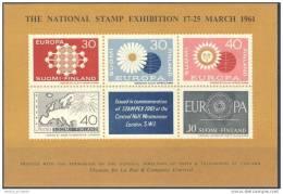 D- FINLAND Nice Sheet STAMPEX GB EUROPA 1961, London, Fine **/MNH