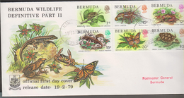O) 1979 BERMUDA, WILDLIFE, FORG ELEUTHERODACTYLUS, SPINY PANULIRUS, CRA GECARCINUS, LIZARD EUMECES, BUTTERFLY DANUS, TUR - Bermudes