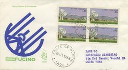 ITALIA - FDC  VENETIA 1968 - CENTRO TELESPAZIALE DEL FUCINO - QUARTINA - VIAGGIATA PER ROMA - 6. 1946-.. Repubblica