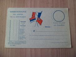 Carte En Franchise  Correspondance Des Armées De La République  Drapeaux Modèle EM.N°6    Neuve TB  ! ! ! - Marcophilie (Lettres)