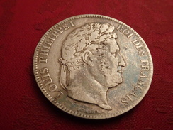 FRANCE,  Louis Philippe I Roi Des Français, Tête Laurée, Pièce Argent 5 FRANCS 1836 - BB (Strasbourg) - Bon état - J. 5 Franchi