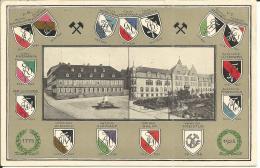 Alte Karte Mit Wappen Aus Dem Bergbau   ( Erst 1967 Gebraucht Worden ) - Mines