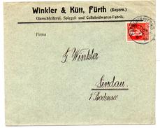 - ALLEMAGNE / BAVIERE - Lettre Winkler & Kütt FÜRTH I. Bayern Pour LINDAU 6 JAN 1916 - 10 P. Rouge Louis III -