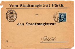 - ALLEMAGNE / BAVIERE - Lettre FÜRTH I. Bayern Pour GÖRLITZ 16 FEB 1920 - 20 P. Bleu-vert Louis III -