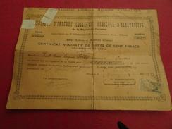 Société D'intérêt Collectif Agricole D'électricité De La Région De Péronne SICA Certificat De 2 Parts De 100 Francs 1935 - Electricité & Gaz