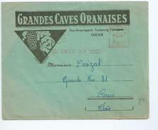 """Enveloppe à En Tête Publicitaire """"grandes Caves Oranaises"""" (Algérie) Pour Cours (Rhône). Vigne-oenologie"""