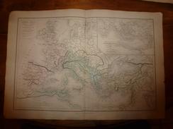 1861 Carte Géographique EMPIRE ROMAIN (Orient,Occident à La Mort De Théodose;Provinces Orientales 4e Siècle De L'Eglise) - Geographical Maps