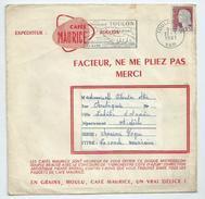 France Marianne De Decaris Sur Env Publicitaire Café Maurice Pour Disque 45 Tours De Toulon (Var) Pour L'Ardèche - Marcofilie (Brieven)