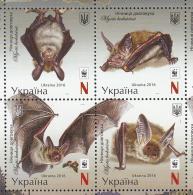 Uk Ukraine 2016 Mi. Nr. 1593-1596 Zd  Bats WWF  MI