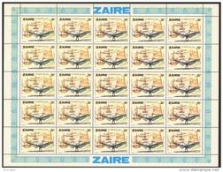 Zaire 0941** 30s Feuille / Bogen / Sheet De 25 MNH - Aviation Léonard De Vinci - Zaire