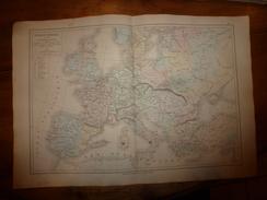 1861 Carte Géographique EUROPE FEODALE En 1328,lieux Historiques (fin Croisades-Philippe VI De Valois) Par Drioux-Leroy - Geographical Maps