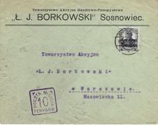 WARSZAWA - VARSOVIE Sosnowice 1918 Cachet Carré Violet 10 Fenygow - Poczta Miejska - Aff. Allemand - Expertisé - ....-1919 Provisional Government
