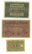3 Billeres Alemania Usados 1 Mark 1920 10 Mark 1920 20 Mark 1918 - [ 3] 1918-1933 : República De Weimar