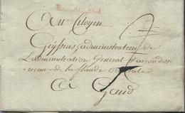 """L 1795 Encadré """"COURTRAY."""" + """"2"""" Pour Gand + Texte - 1794-1814 (Période Française)"""