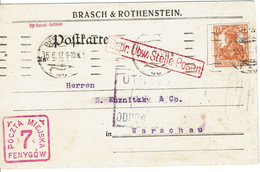 WARSZAWA - VARSOVIE Berlin 15 Juin 1917 Cachet Carré Rouge 7 Fenygow - Geprüft - Censure - Affr. Allemand - Covers & Documents