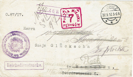 WARSZAWA - VARSOVIE Lowicz 29 Septembre 1917 Cachet Carré Rouge 7 Fenygow - Zurück - Reichsdienstsache - Franchise Milit - ....-1919 Provisional Government