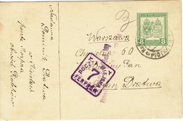 WARSZAWA - VARSOVIE 22 Mai 1917 Cachet Carré Violet 7 Fenygow - Entier Autrichien Feldpost - K.u.K Militer - ....-1919 Gouvernement Provisoire