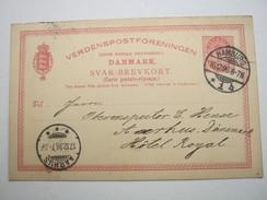 1896 , HAMBURG , Klarer Stempel Auf Antwort - Karte Dänemark - 1864-04 (Christian IX)