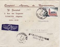 17204# CALAIS LETTRE PAR AVION COMPTOIR AFRICAIN DE REPRESENTATION Obl TLEMCEN 1962 DARMSTADT ALLEMAGNE GERMANY - Algeria (1924-1962)