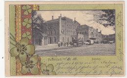 Halberstadt - Bahnhof Mit Pferdetram - Jugendstilkarte -1901    (PA-14-120608) - Halberstadt