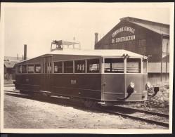 Grande Photo Ancienne Format 23cmx17.4cm Autorail PLM Devant Les Ateliers - Trains