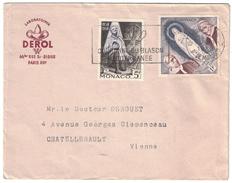 MONACO - 1958 AFFRANCHISSEMENT COMPOSÉ SUR ENVELOPPE PUBLICITAIRE PUBLICITE LABORATOIRE DEROL - Lettres & Documents