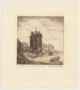G.310 Gravure Eau-forte Engraving Etching Henri Quittelier, 1945. Nivelles La Tourette. Signed. 201 X 179 Mm, 112 X 109