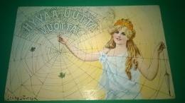 Jenny Nystrom,,hyyaa Uuttavuotta  ,,,circolata,,1914,cartolina Dipinto Disegno,, - Non Classificati