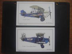 Lot De 2 Cartes : AVION Aviation Vliegtuig Luchtvaart Plane : CURTIS FALCON - CURTIS CARRIER PIGEON (Johns Byrne Co) - 1919-1938: Between Wars