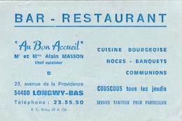 """Carte Commerciale Bar Restaurant """" Au Bon Accueil """" /mr Mme Alain MASSON / 54 Longwy Bas - Cartes"""