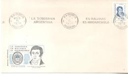 LA SOBERANIA ARGENTINA EN MALVINAS ES IRRENUNCIABLE - SOBRE AÑO 1970 CON VIÑETA DEL ESCUDO DE LA COMANDANCIA DE