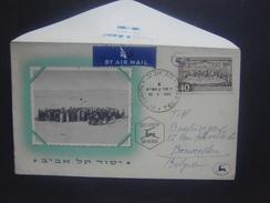 Vieille Enveloppe Spéciale Avec Cachet Et Timbre ISRAEL By Air Mail ( 1951 ) De Tel Aviv Vers Bruxelles - Israel