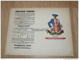 Malaga Torero Friedrich Lenz Weingrosshandlung Heidelberg Handschuhsheim Germany - Altre Collezioni