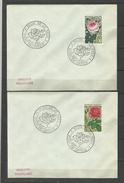 France  YT  1356.57 Salon De La Rose Bruay En Artois 8.9.1965 ( 2 Enveloppes ) Rosa