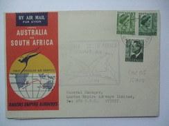 AUSTRALIA 1952 FIRST FLIGHT QUANTAS COVER AUSTRALIA - SOUTH AFRICA WITH COCOS ISLAND POSTMARK - Storia Postale