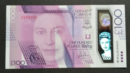 GIBRALTAR QE II £ 100 Pounds 2015 (2017)  Polymer REPLACEMENT NUMBER UNC NOTE - Gibraltar