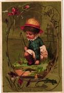 6 Cards C1900 Child Feeding Frog  Grenouille Bees Grashopper Sauterelle Hanneton Spider Araignée Salamander Gold - Kaufmanns- Und Zigarettenbilder